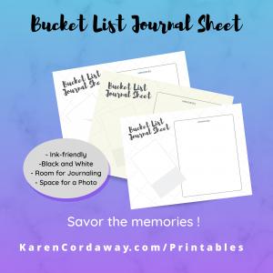 Bucket List Journal Printable