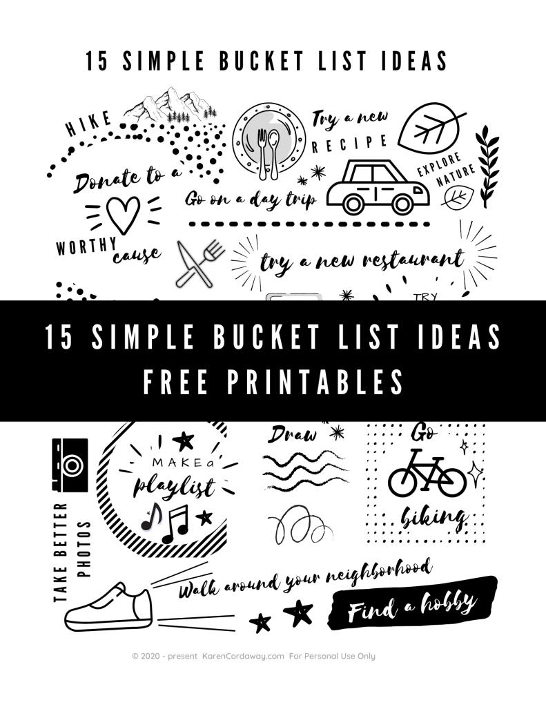 simple bucket list ideas free printable